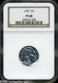 Proof Buffalo Nickels: , 1937 5C PR68 NGC. A sensational proof Buffalo that is alive withglassy brilliance and is, for all intents and purposes, un...
