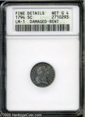 Early Half Dimes: , 1794 H10C--Damaged, Bent--ANACS. Fine Details, Net Good 4. V-1,LM-1, R.6. The rarest of the first year Flowing Hair Half D...