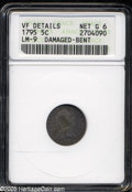 Early Half Dimes: , 1795 H10C--Damaged, Bent--ANACS. VF Details, Net Good 6. V-6, LM-9,R.4. A scarce variety noted for its widely spaced IB in...