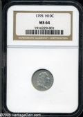 Early Half Dimes: , 1795 H10C MS64 NGC. V-4, LM-10, R.3. This variety is distinguishedby 5 berries on each branch with one berry below the out...
