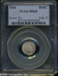 Bust Half Dimes: , 1830 H10C MS65 PCGS. V-8, LM-3, R.2. Streaks of tan and rose colorgrace this otherwise cream-gray Gem. Meticulously struck...