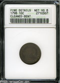 Early Dimes: , 1798 10C Small 8--Cleaned, Bent--ANACS. Fine Details, Net VG8.JR-3, R.5. Aquamarine and honey colors swirl about the relat...