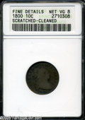 Early Dimes: , 1800 10C--Scratched, Cleaned--ANACS. Fine Details, Net VG8. JR-2,R.5. Only two die marriages are known for the 1800 Dime, ...