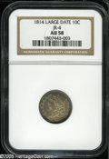 Bust Dimes: , 1814 10C Large Date AU58 NGC. JR-4, R.2. Golden-brown andcobalt-blue colors adorn the borders of this partly lustrousearl...
