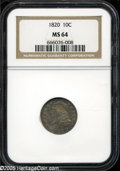 "Bust Dimes: , 1820 10C Large 0 MS64 NGC. JR-3, R.4. Listed in the JR reference as""a very scarce variety,"" this appears to be the first e..."