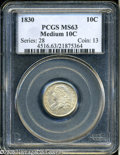 Bust Dimes: , 1830 10C Medium 10C MS63 PCGS. JR-8, R-3. Medium dove-gray and tan colors embrace this well struck and satiny Dime. The lus...