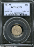Seated Dimes: , 1851-O 10C AU58 PCGS. Light plum and olive hues enrich this smoothand boldly struck Seated Dime. For pedigree purposes, a ...