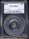 Seated Dimes: , 1863 10C MS63 PCGS. Fortin-101a. A scarce date in any grade with amintage of only 14,000 business strikes. PCGS has graded...