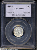Seated Dimes: , 1888-S 10C MS64 PCGS. Fortin-101. The '88-S dime was minted insubstantial numbers (more than 1.7 million pieces), but its ...