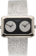 Timepieces:Wristwatch, Patek Philippe Ref. 4404/4, Rare and Attractive 18k White Gold,Onyx, and Diamond-set Dual Time Wristwatch. ...