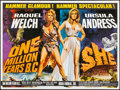 "Movie Posters:Fantasy, One Million Years B.C./She Combo (Warner Pathe, R-1968). British Quad (30"" X 40""). Fantasy.. ..."