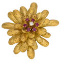 Estate Jewelry:Brooches - Pins, Ruby, Diamond, Gold Brooch . ...