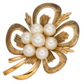 Estate Jewelry:Brooches - Pins, Cultured Pearl, Gold Brooch, Mikimoto. ...