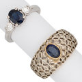 Estate Jewelry:Rings, Sapphire, Diamond, Gold Rings . ... (Total: 2 Items)