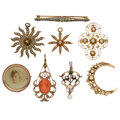 Estate Jewelry:Lots, Diamond, Coral, Cultured Pearl, Seed Pearl, Glass, Enamel, Gold Jewelry. ... (Total: 8 Items)