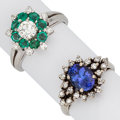 Estate Jewelry:Rings, Diamond, Emerald, Tanzanite, Gold Ring. ... (Total: 2 Items)