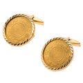 Estate Jewelry:Cufflinks, Gold Coin, Gold Cuff Links. ...