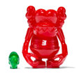 Fine Art - Sculpture, American:Contemporary (1950 to present), KAWS X Bounty Hunter. Skull Kun (Red), 2006. Cast vinyl.6-1/2 x 5-1/4 x 3-1/4 inches (16.5 x 13.3 x 8.3 cm) (toy body)...
