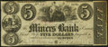 Obsoletes By State:Iowa, Dubuque, IA- Miners Bank $5 Jan. 17, 1860 . ...
