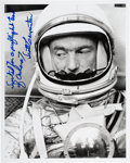 Autographs:Celebrities, Scott Carpenter Signed Silver Spacesuit Photo....