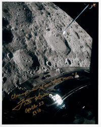 """Fred Haise Signed Apollo 13 """"Lost Moon"""" Color Photo"""