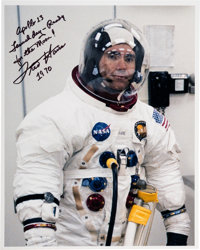 Fred Haise Signed Launch Day Spacesuit Color Photo
