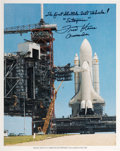 Autographs:Celebrities, Fred Haise Signed Space Shuttle Enterprise (OV-101)Launchpad Color Photo. ...
