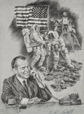 Explorers:Space Exploration, Apollo 11: Signed Paul Calle Print of Richard Nixon on the Phone with Apollo 11 on the Moon, in Framed Display. ...