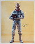 Autographs:Celebrities, Gordon Cooper Signed Full-Length Silver Spacesuit Color Photo. ...