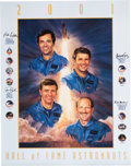 Explorers:Space Exploration, U.S. Astronaut Hall of Fame: 2001 Inductees Color Poster Signed by Robert Crippen, Joe Engle, Richard Truly, and Frederick Hau...