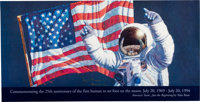 """Alan Bean Signed """"Just the Beginning"""" Print for the Twenty-fifth Anniversary of Apollo 11"""