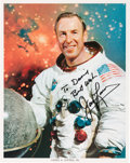 Explorers:Space Exploration, James Lovell Signed White Spacesuit Color Photo. ...