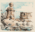"""Works on Paper, Edward Muegge """"Buck"""" Schiwetz (American, 1898-1984). Cathedral Rocks, Palo Duro Canyon, 1957. Watercolor on paper. 8-1/2..."""