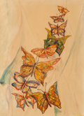 Works on Paper, Lia Cuilty (American, 20th Century). Butterflies, 1959. Watercolor on paper. 16 x 11-1/4 inches (40.6 x 28.6 cm). Signed...