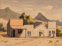 """Gerald Williamson """"Jerry"""" Bywaters (American, 1906-1989) Stores in Shafter, 1938 Watercolor and penc"""