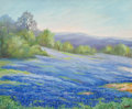 Fine Art - Painting, American, Nannie Huddle (American, 1860-1951). Bluebonnets. Oil oncanvas. 24 x 30 inches (61.0 x 76.2 cm). Signed lower right:...
