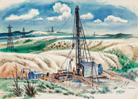 """Gerald Williamson """"Jerry"""" Bywaters (American, 1906-1989) Spudder in the Panhandle, The Humble Way interior ill..."""
