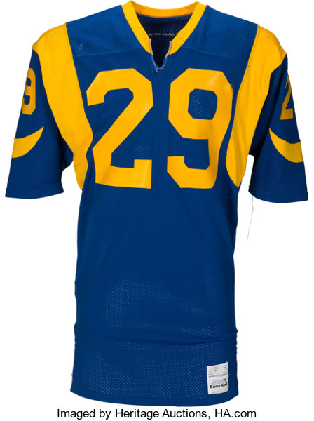 Football Collectibles:Uniforms, 1983 Eric Dickerson Game Worn & Signed Los Angeles Rams RookieJersey--Photo Matched!...