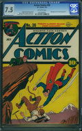Golden Age (1938-1955):Superhero, Action Comics #38 (DC, 1941) CGC VF- 7.5 Off-white pages.