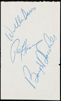 Autographs:Index Cards, Green Bay Packers/Buffalo Bills Multi-Signed Cut (5 Signatures)....