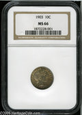 Barber Dimes: , 1903 10C MS66 NGC. The 1903 dime is a very difficult date at theMS66 level, as is evident from the NGC and PCGS population...