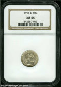 Barber Dimes: , 1914-D 10C MS65 NGC. Wisps of olive-brown patina grace frostysurfaces over each side, and the design elements are sharply ...