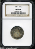 Seated Quarters: , 1857 25C MS67 S NGC. Splashes of electric-blue and orange-goldcolor dominate this shimmering and carefully preserved Supe...
