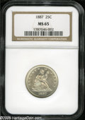 Seated Quarters: , 1887 25C MS65 NGC. An essentially brilliant Gem that has energeticluster and spectacularly unmarked surfaces. The right si...