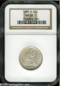 Seated Quarters: , 1888-S 25C MS65 NGC. Well struck with untoned surfaces and softlyfrosted luster, just a few small contact marks on the obv...