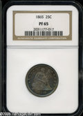 Proof Seated Quarters: , 1865 25C PR65 NGC. The 1865 quarter is very elusive whether inbusiness strike (59,300 pieces) or proof (500 pieces) format...