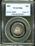 Proof Seated Quarters: , 1887 25C PR66 PCGS. Navy-blue, rose-red, and peach colors cede to awindow of brilliance on the central reverse. Intricatel...
