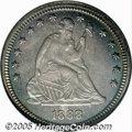 Proof Seated Quarters: , 1888 25C PR66 NGC. Nicely mirrored surfaces are awash ingolden-violet and turquoise iridescence, with a swath of lighterg...