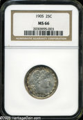 Barber Quarters: , 1905 25C MS66 NGC. This hundred-year old type coin shows virtuallyno signs of the passage of time. The lustrous surfaces a...