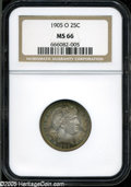 """Barber Quarters: , 1905-O 25C MS66 NGC. David Lawrence called the 1905-O """"the mostunderrated date in the set."""" The secret is out now, and pre..."""
